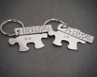 Custom Coordinates, Matching Keychains, Coordinate Keychain, Latitude Longitude, Couples Keychains, Wedding Gift, Husband Wife Gift