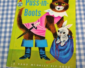 puss in boots, vintage 1955 children's rand mcnally elf book