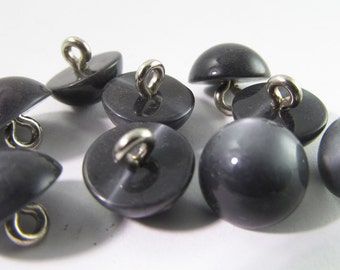16 Vintage 10mm Charcoal Grey Moonglow Lucite Buttons Pd291