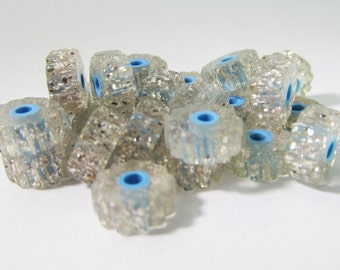 60 Vintage 8x4mm Lucite Silver Glitter Blue Core Tube Beads Bd992