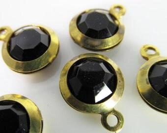 10 Vintage Jet Black Lucite Brass Bezel Channel Set Faceted Charms Pendants Drops Pd580