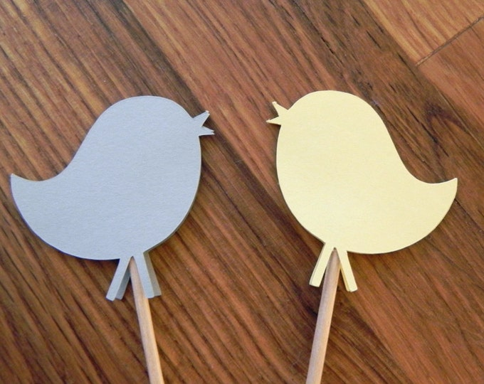 Party Pick: Cute Birds - Yellow and Gray Baby Shower or Birthday Party die cut birds pick mini cupcake topper