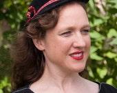 """1930s Derby Bowler Hat black felt """"Bonnie"""" with Tartan Ribbon"""