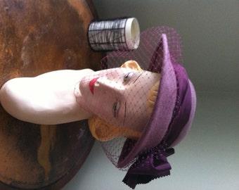 "WWII Hat 1940s brim Purple with Veil ""Irene"""
