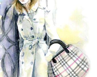 Watercolor Fashion Illustration -  Emma Watson wearing Burberry