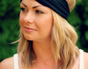 Black Knit Turban Wrap Headband