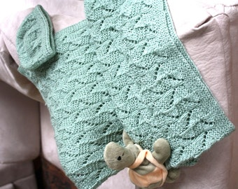 Baby Blanket and Hat,  Knitting Pattern PDF, Amy Baby Blanket and Hat