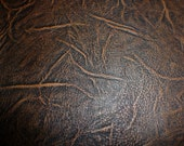 """Leather 3""""x11"""" Thick Distressed BROWN AFRICA Print pattern Cowhide 4 oz / 1.6 mm PeggySueAlso"""