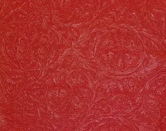 """Leather 12""""x12"""" WESTERN CIRCLE Red Soft Embossed Cowhide 2-2.25 oz / .8-.9 mm PeggySueAlso™E2812-11"""