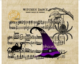 Halloween Witch Music Instant graphic Digital download Spider for iron on transfer to burlap Image for decoupage pillow card Item No 2050