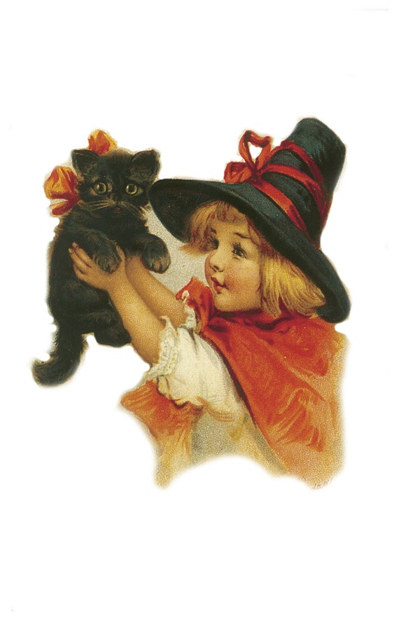 Fabric Cat Button Halloween Autumn Fall orange Witch Black Hat Arms Reach My Black Kitten 1 1/2 Inch