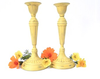 Shabby Chic Yellow Painted Brass Candlesticks, Yellow Table Centerpiece, Yellow Wedding Decor,  Yellow Candle Holders