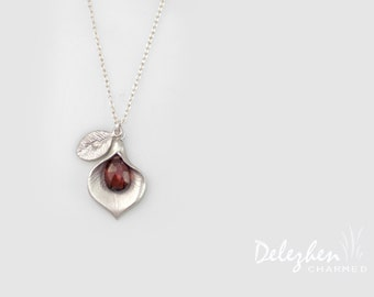 Garnet Necklace - Birthstone Necklace - Custom Initial Jewelry - Sterling Silver Necklace - Personalized necklace - Calla Lilly Necklace