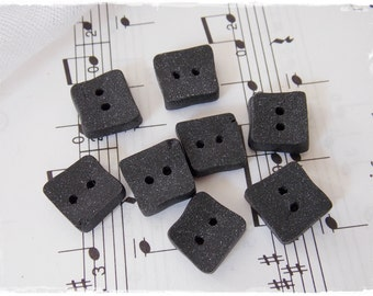 Small Black Buttons, Polymer Clay Buttons, Handmade Square Buttons, Gothic Clay Buttons, Midnight Black Buttons, Handmade Closure Button