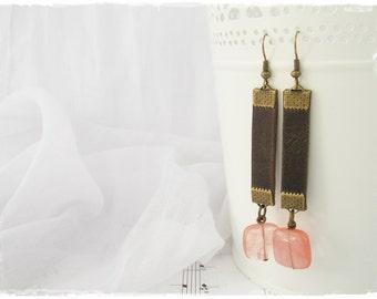 Leather Tribal Earrings, Long Dangle Earrings, Watermelon Tourmaline Earrings, Coral Tribe Earrings, Dangling Earrings, Boho Yoga Jewelry