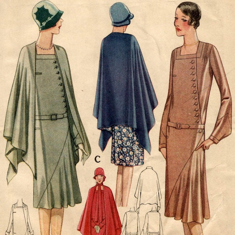 1920s dress and cape pattern mccall 5396