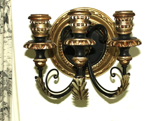 Italian gilt triple candle sconce- High Hollywood Regency style