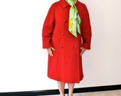 RESERVED 1960s Cherry Red Wool Coat embroidered squiggles 60s long coat m l mad men fall fashion winter fashion A-line