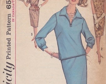 1960s Overblouse and Wiggle Skirt Vintage Pattern, Simplicity 5021, Shirt Collar, Side Slits, 3/4, Short or No Sleeves, Pencil, Slim Skirt