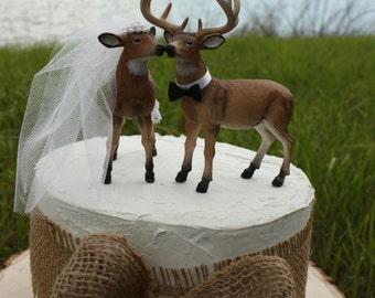 Camouflage Wedding Deer Hunter Cake Topper Lover Bride