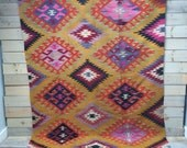 Vintage Turkish Kilim With Berry Diamonds and Red Border