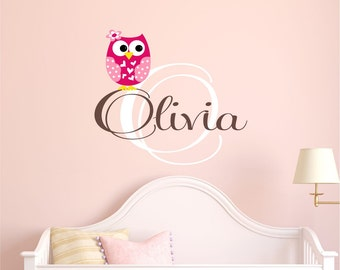 Girls Owl Wall Decal  - Name Wall Decal - Monogram Wall Decal - Personalized Name Wall Decal  - Wall Decals Nursery