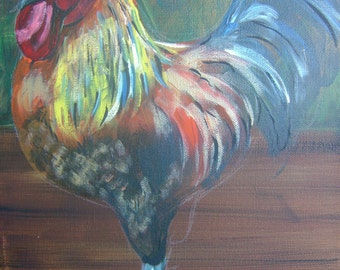 "8x10 Digital Print of Original Acrylic: ""Rooster"""