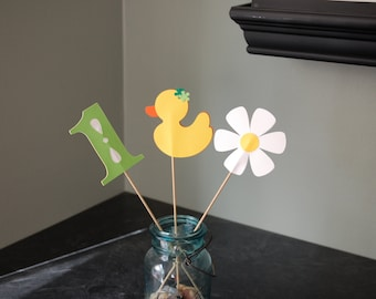Rubber Duck Centerpieces, Rubber Duckie, Duck 1st Birthday, Yellow, Lime, Orange
