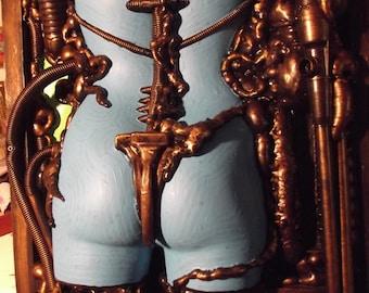 Steampunk Bio mechanical female sculpture