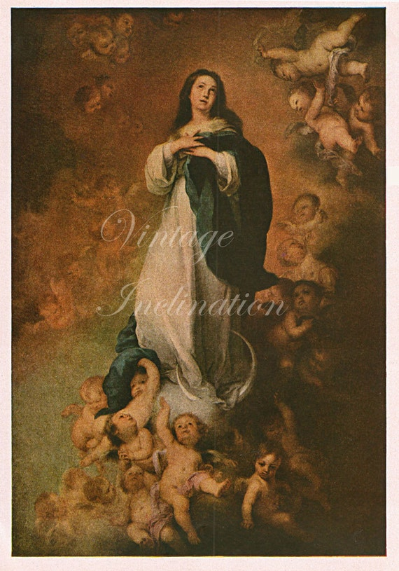 Antique Murillo Art Print 1940s The Immaculate Conception