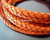 Leather Cord 6mm - Orange Round Braided Bolo Genuine Leather Cord ( Hole Inside )