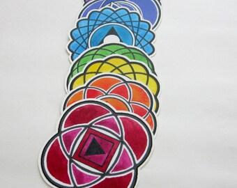 Chakra stickers car window decals rainbow colors vinyl waterproof iphone