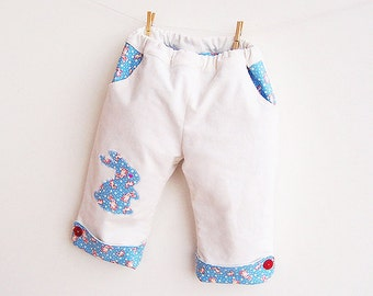 TENDER BUNNY Baby Boy Girl Pants sewing pattern Pdf, Fully Lined Pants, children toddler newborn 3 6 9 12 18 months 2 years Instant Download
