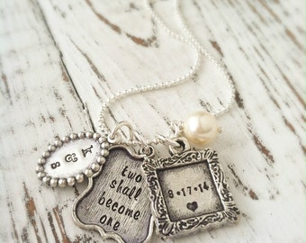 Personalized Necklace . Vintage Engagement Charm Necklace . Wedding Gift . Bride Gift . Engagement Gift . Bride Jewelry . Bride Necklace