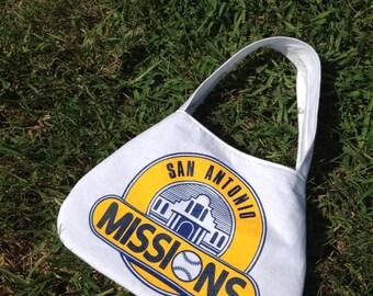 San Antonio Missions upcycled tshirt purse