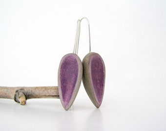Plum purple grey - green olive clay earrings, air dry clay drop medium long minimalist jewelry organic form contemporary sterling silver