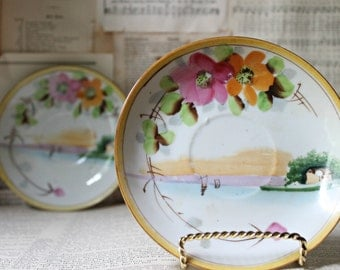 Hand Painted Japanese Saucers Oriental Decor Wall Art