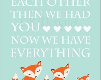 Woodland Nursery Decor, Fox Nursery Print, Orange and Aqua Nursery, Owl Nursery Decor, Fox Family, Gift for New Baby, Baby Shower - 8x10