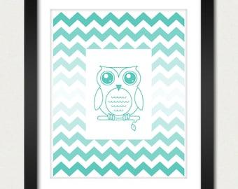 Ombre Chevron Poster - Owl Poster / Chevron Print / Ombre Print / Owl Print - Geometric Print - Wall Poster - 8x10 or 13x19 Poster