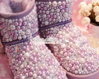 PROMOTION WINTER Bling and Sparkly Purple Pearl Short SheepSkin Wool BOOTS w shinning Czech or Swarovski crystals