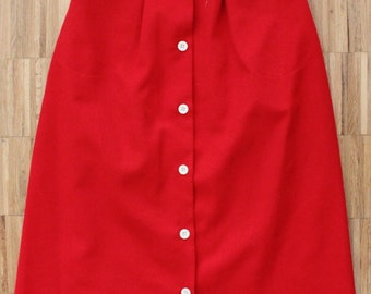 Vintage Red and White Aline skirt with front buttons and pockets. Size Eur36