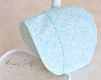 Reversible Cotton Modern Baby Bonnet, Easter Sun Hat, Floral and Polka Dots, Available in Newborn to 18M, Rose and Ruffle