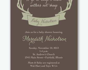 deer antler hunting baby shower party custom invitation cards