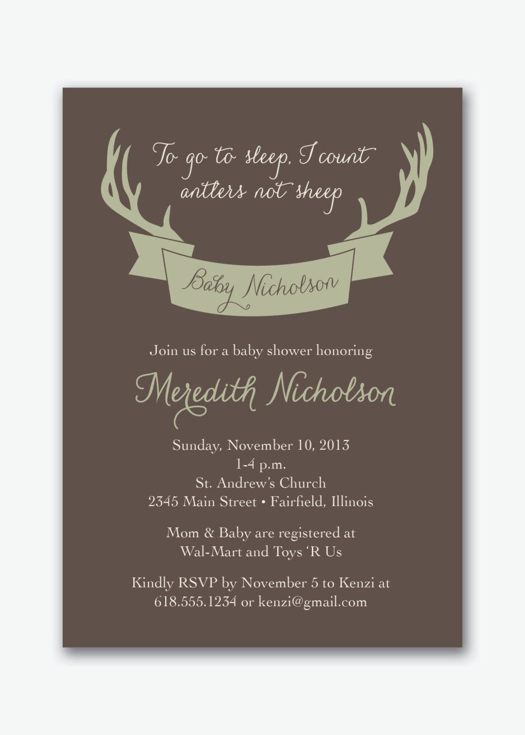 deer antler hunting baby shower party custom by sstremmingdesigns