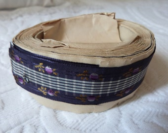 Antique French silk trim ribbon trimming 1800s, 228 inches LONG unused passementerie gallon purple floral trim, vintage silk sewing supplies