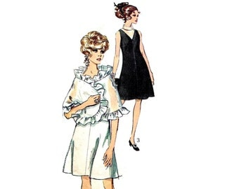 1960s Cocktail Dress and Ruffled Wrap Pattern V Neck Sleeveless Evening or Party Dress Stole Simplicity 7951 Bust 34 Vintage Sewing Pattern