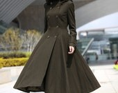 Army Green Hooded Maxi Coat Military Long Jacket Double breasted Hoodie Wool Coat Winter Coat Tunic / Fast Shipping - NC500
