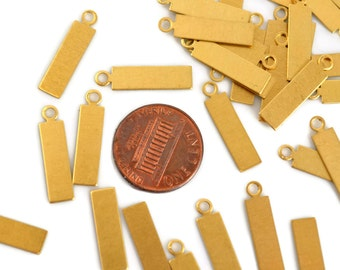 12 Brass Tag Blanks - Small Rectangle Tag with Loop - 24 Gauge Raw Brass