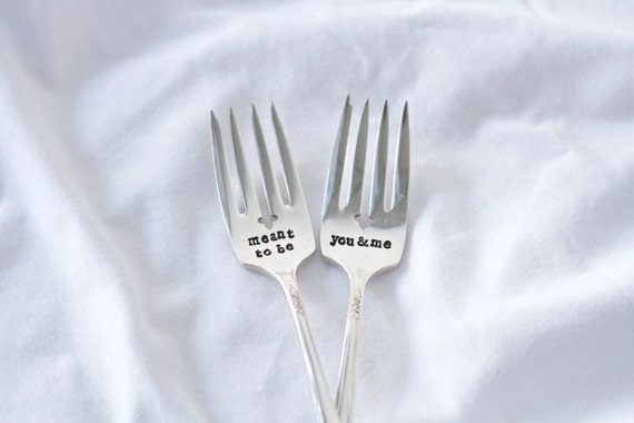 Meant To Be, You & Me Fork Set: For the bride and Groom on their wedding day. Wedding Cake. Hand Stamped. Vintage Wedding.