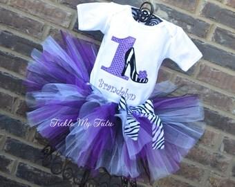 Little Diva High Heel Zebra Print Birthday Tutu Outfit-Diva Princess Birthday Tutu Set-Shopping Party Tutu Outfit-Spa Party Tutu Set